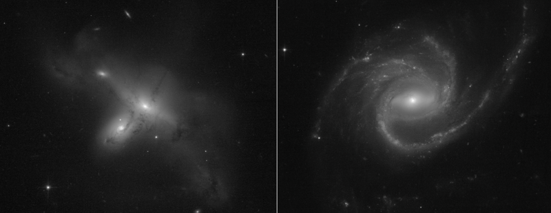 1st images from rebooted Hubble are 2 black-and-white images of strange-looking galaxies, side by side.