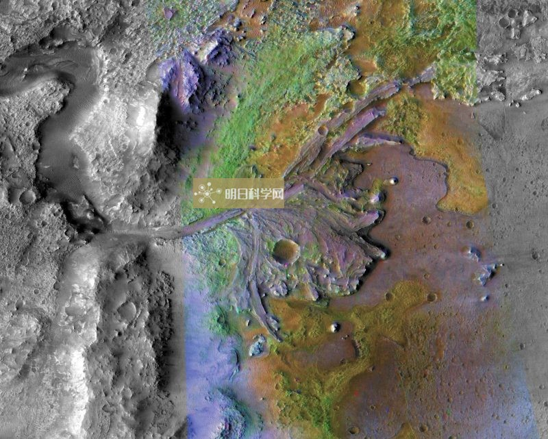 Orbital view of brown land with delta formation and labels.